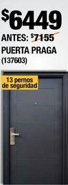 Oferta de PUERTA DE SEGURIDAD DERECHA 96X213 CM PRAGA NEGRA CON MARCO DECORATIVO por $6449
