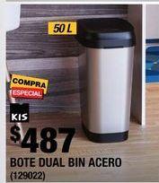 Oferta de BOTE DE BASURA DUAL CON TAPA OSCILANTE 50 L PLATA por $487