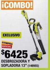 Oferta de COMBO DESBROZADORA DE HILO Y SOPLADORA DE VENTILADOR RYOBI 18 VOLTS por $6425