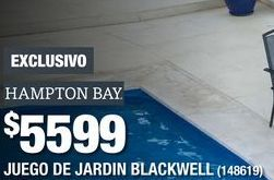 Oferta de COMEDOR DE JARDÍN BLACKWELL GRIS 4 SILLAS TELA ESTRUCTURA DE ACERO por $5599