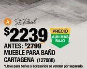 Oferta de GABINETE PARA BAÑO CARTAGENA CAFÉ CON LAVABO 84.15 X 46.36 X 42.2 CM DE PISO por $2239