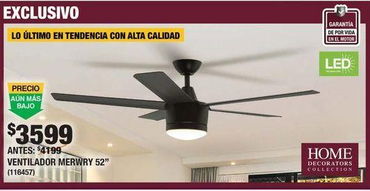 Oferta de VENTILADOR DE TECHO MERWRY 52 PULGADAS LUZ LED por $3599