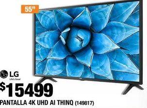 Oferta de PANTALLA 4K UHD TV AI THINQ DE 55 PULGADAS LG por $15499