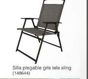 Oferta de Silla plegable gris tela sling por