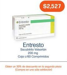 Oferta de ENTRESTO 200MG COM CAJ C/60 por $2527