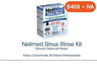 Oferta de NEILMED SINUS RINSE KIT CAJ C/FCO COMPRIMIBLE Y 60 SOB PREMEZCLADOS por $408