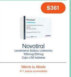 Oferta de NOVOTIRAL 100/20MCG TAB CAJ C/50 por $361