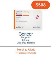 Oferta de CONCOR 2.5MG GRA CAJ C/30 por $508