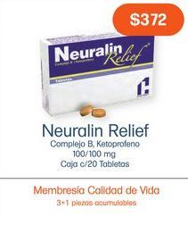 Oferta de NEURALIN RELIEF 100/100MG TAB CAJ C/20 por $372