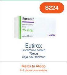 Oferta de EUTIROX 75MCG TAB CAJ C/50 por $224