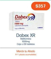 Oferta de DABEX XR LIBER. PROL. 1000MG TAB CAJ C/30 por $357