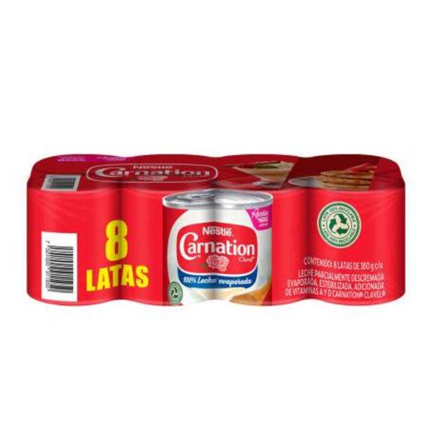 Oferta de Leche Evaporada Carnation Clavel Nestlé 8 pzas de 360 g c/u por $127.87