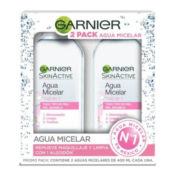 Oferta de Agua Micelar Garnier Skin Active 2 pzas de 400 ml c/u por $138.11