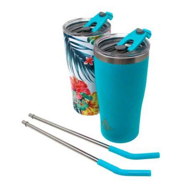 Oferta de Set de Vasos con Popote Metálico Heritage Aqua Tropical 2 pzas por $510.27