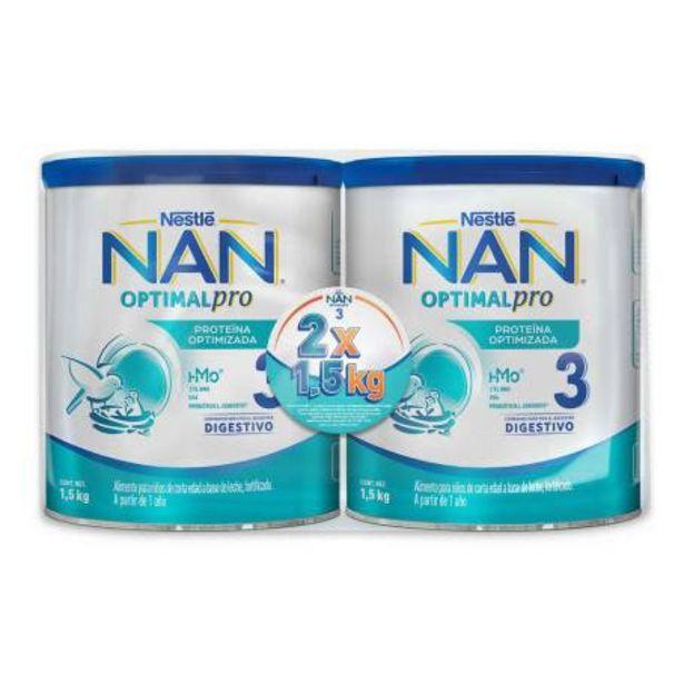 Oferta de Fórmula Infantil NAN OptimalPro 3 2 Latas de 1.5 kg c/u por $551.4