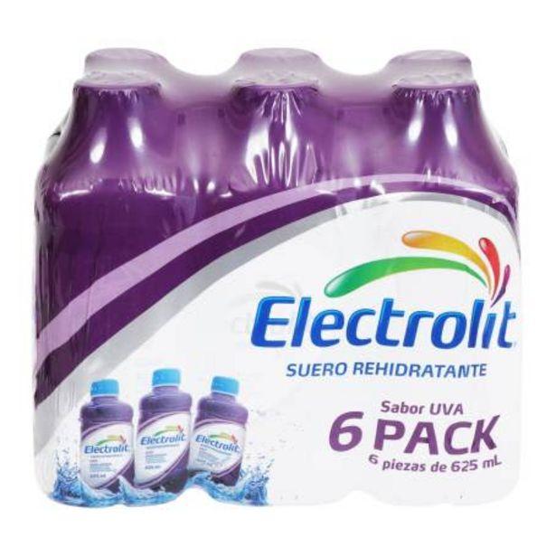 Oferta de Suero Rehidratante Electrolit Uva 6 pzas de 625 ml c/u por $107.41