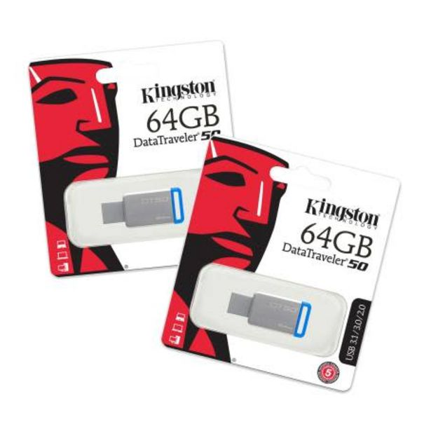 Oferta de Memoria USB Kingston DT 3.0 de 64 GB 2 pzas por $438.87