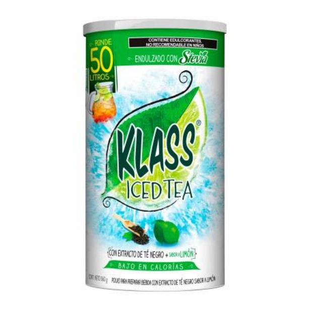 Oferta de Polvo para Preparar Bebida Klass Iced Tea Con Extracto de Té Negro 560 g por $134.25