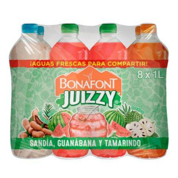 Oferta de Bebida Saborizada Bonafont Juizzy Aguas Frescas 8 pzas de 1 l c/u por $71.61