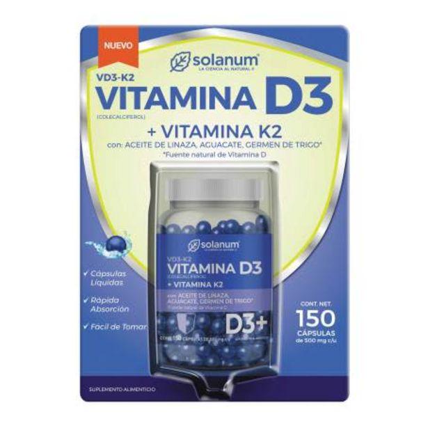 Oferta de Vitamina D3 + K2 Solanum 150 Cápsulas de 500 mg c/u por $254.73