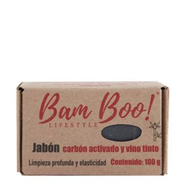 Oferta de Jabón vino tinto y carbón activado, bam boo!  100 g por $26.35