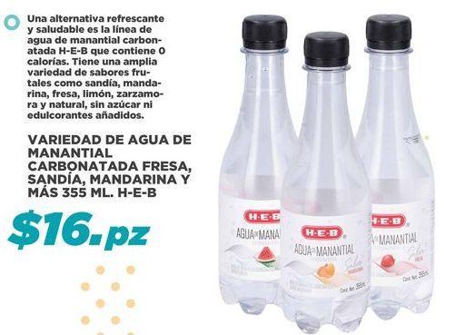 Oferta de Variedad de Agua de Manantial Carbonatada Fresa, Sandia, Mandarina y Mas 355 ml  por $16