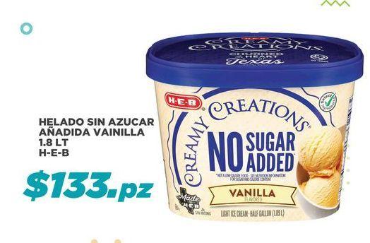 Oferta de Helado sin Azucar Añadida Vainilla 1.8 lt HEB por $133