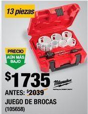 Oferta de JUEGO DE BROCAS SIERRA 13 PIEZAS por $1735