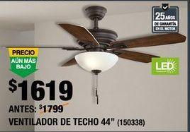 Oferta de VENTILADOR DE TECHO WELLSTON por $1619