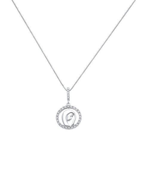 Oferta de Medalla De Oro Blanco Y Zirconias Con Cadena 14K por $5746
