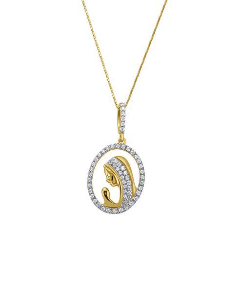 Oferta de Medalla Oro Bicolor con Cadena de Oro Amarillo con Zirconias por $7094.5