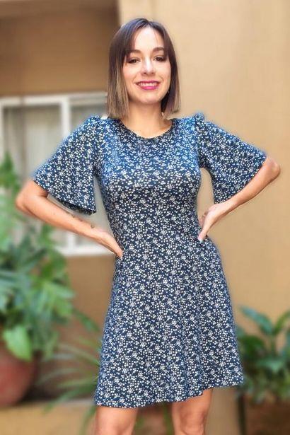 Oferta de Vestido estampado manga corta por $100
