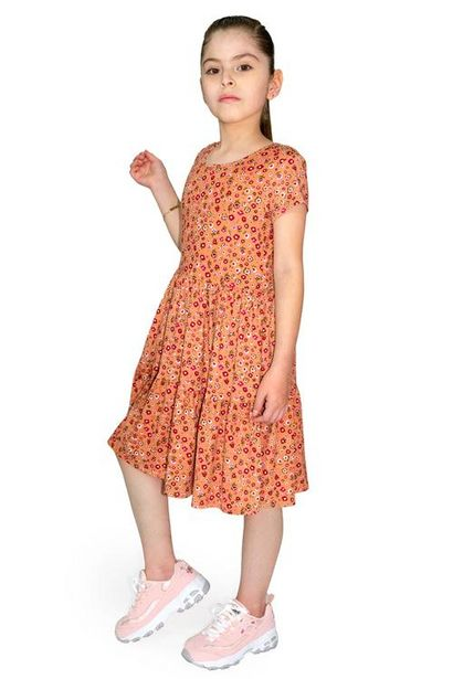 Oferta de Vestido largo estampado manga corta para niña por $100