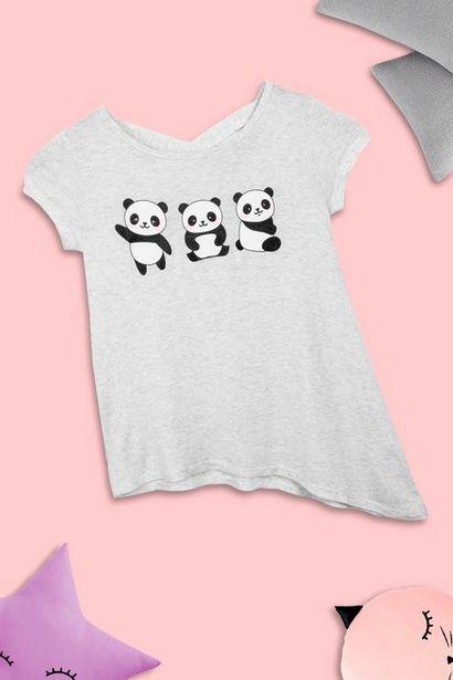 Oferta de Playera de pandas manga corta para niñas por $80