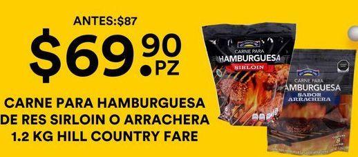 Oferta de Carne para Hamburguesa de Res Sirloin o Arrachera  por $69.9