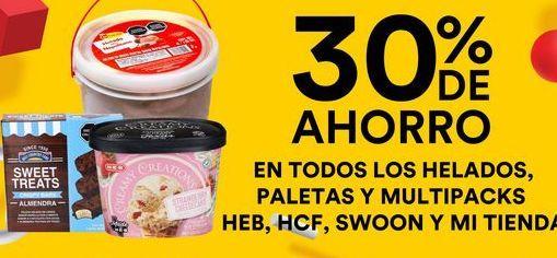 Oferta de Helados, Paletas y Multipacks Heb, HCF Swoon y Mi tienda  por