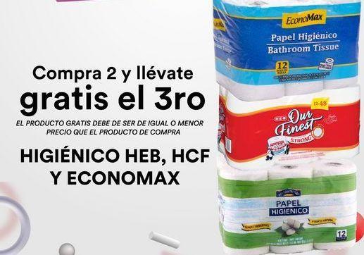 Oferta de HIGIENICO HEB, HCF Y ECONOMAX  por