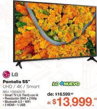 Oferta de Pantalla LG 55UP7500PSF / 55 pulgadas / Ultra HD 4k / Smart TV por $13999