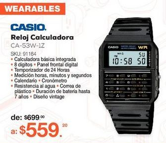 Oferta de Reloj Casio CA-53W-1Z / Negro por $559