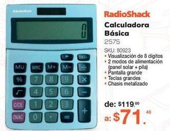 Oferta de Calculadora Básica RadioShack 2575  por $71