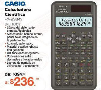 Oferta de CALCULADORA CIENTIFICA CASIO FX-991MS (NEGRO) por $236