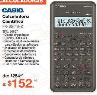Oferta de CALCULADORA CIENTIFICA CASIO FX-82MS-2 (NEGRO) por $152