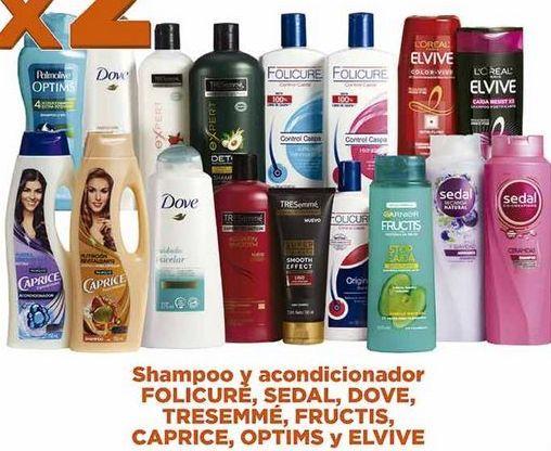 Oferta de Shampoo y acondicionador Folicuré, Sedal, Dove, Tresemmé, Fructis, Caprice, Optims y Elvive por
