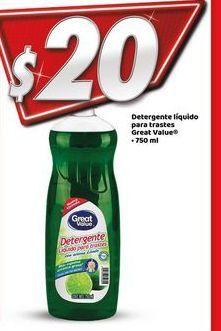 Oferta de Detergente lavavajillas Great Value por $20