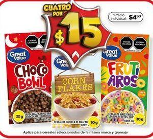 Oferta de Cereales Great Value por $15