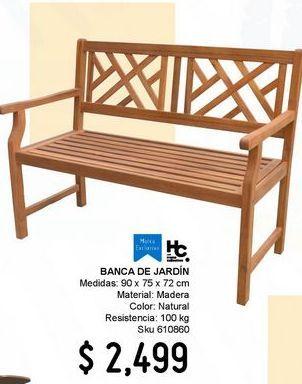 Oferta de Banco Jardin Madera Acacia por $2499