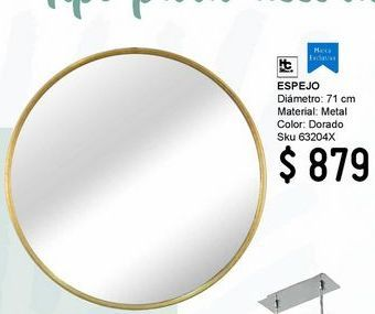 Oferta de Espejo Redondo Met Dorado 71Cm por $879