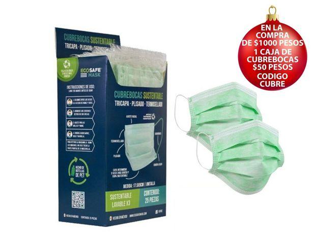 Oferta de Cubrebocas Sustentable Triple Capa Paquete de 25 Pzas. por $143