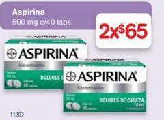 Oferta de Medicamentos aspirina 500 mg 40 tabletas por