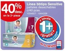 Oferta de Pañales BBtips sensitive 40 pzas por